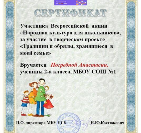 Сертификаты за участие во Всероссийской акции «Народная культура для школьников»
